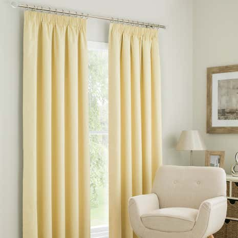 Solar Yellow Blackout Pencil Pleat Curtains
