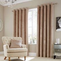 Natural Ashford Lined Eyelet Curtains