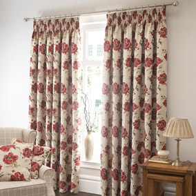 Aurora Red Lined Pencil Pleat Curtains