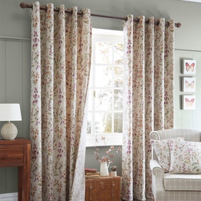 Autumn Meadow Lined Eyelet Curtains