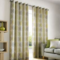 Lime Belize Lined Eyelet Curtains