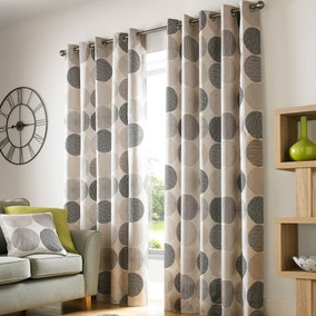 Belize Charcoal Lined Eyelet Curtains