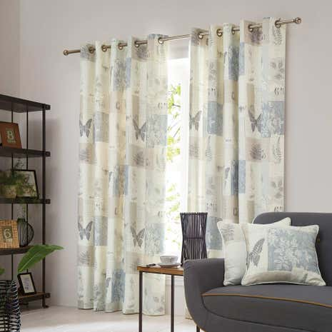 Botanist Natural Lined Eyelet Curtains