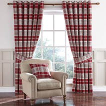 Dorma Bloomsbury Check Red Lined Eyelet Curtains