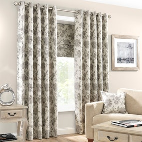 Elizabeth Stone Lined Eyelet Curtains