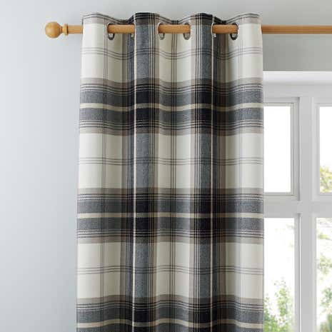 Captivating Highland Check Charcoal Lined Eyelet Curtains