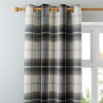 Charcoal Highland Check Lined Eyelet Curtains