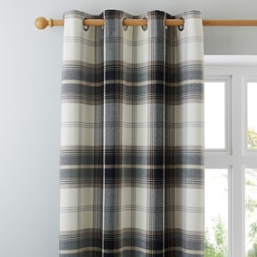Highland Check Charcoal Lined Eyelet Curtains