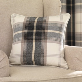 Highland Charcoal Check Cushion