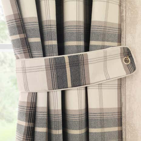 Highland Check Charcoal Tiebacks
