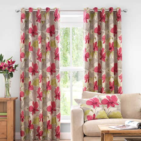 Paradise Pink Lined Eyelet Curtains