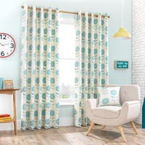 Teal Elba Lined Eyelet Curtains