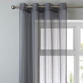 Elements Aspen Grey Sheer Eyelet Voile Panel