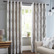 Grey Fern Lined Eyelet Curtains