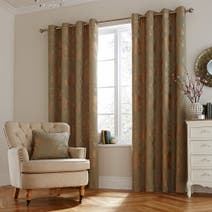 Green Geisha Lined Eyelet Curtains