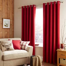 Red Harris Thermal Eyelet Curtains