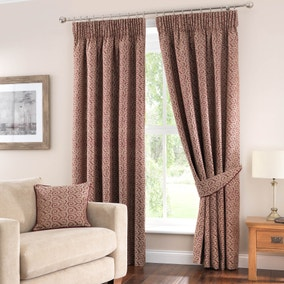 Henley Wine Lined Pencil Pleat Curtains