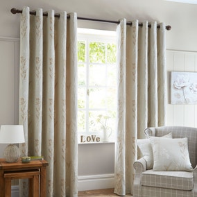 Pastures Natural Lined Eyelet Curtains