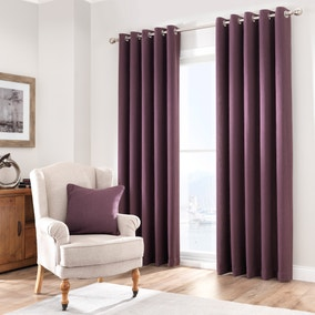 Purity Blackcurrant Lined Eyelet Curtains
