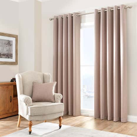 Purity Biscuit Lined Eyelet Curtains