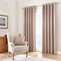 Biscuit Purity Lined Eyelet Curtains
