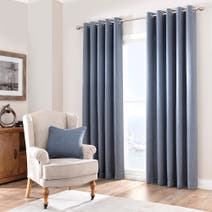 Chambray Purity Lined Eyelet Curtains