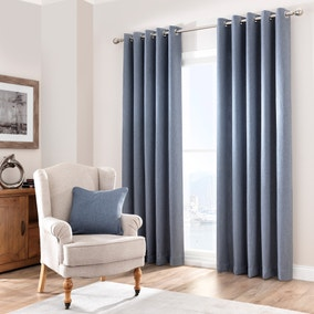 Purity Chambray Lined Eyelet Curtains