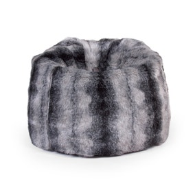 Grey Faux Fur Bean Bag