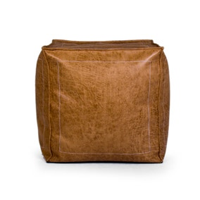 Tan Leather Look Bean Cube