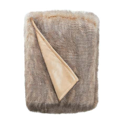 Natural Faux Fur Feather Throw