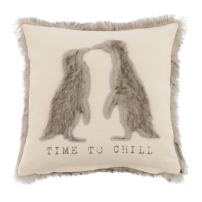 Grey Penguin Faux Fur Cushion