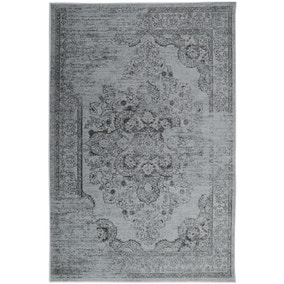 Distressed Damask Rug