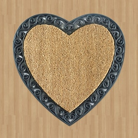 Heart Rubber Coir Doormat