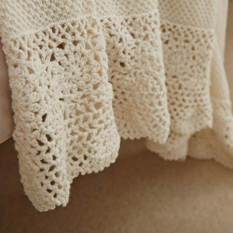 Betsy Cream Crochet Throw