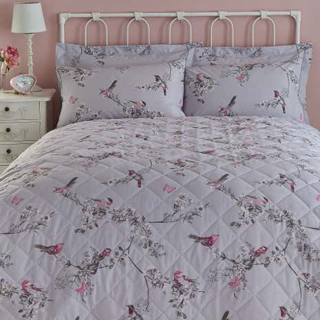 Beautiful Birds Grey Bedspread