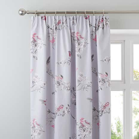Beautiful Birds Grey Pencil Pleat Curtains