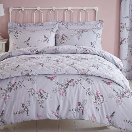 Beautiful Birds Grey Duvet Cover and Pillowcase Set