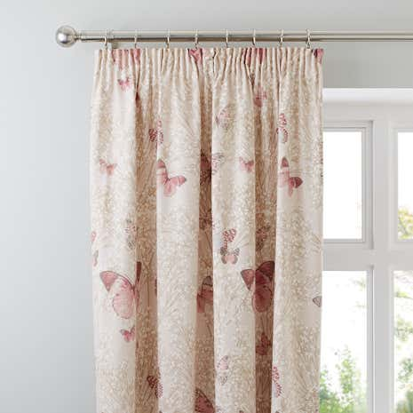 Botanica Butterfly Blush Pencil Pleat Curtains