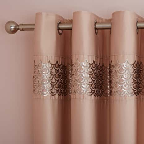 Charleston Champagne Thermal Eyelet Curtains