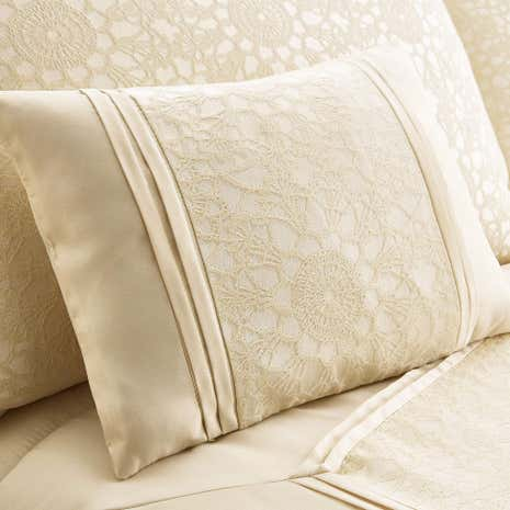Crochet Jacquard Cream Boudoir Cushion