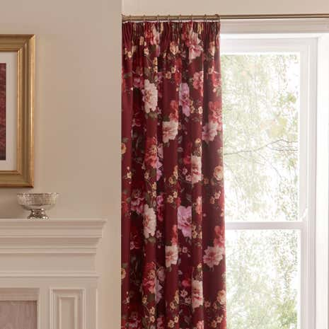 Dorma Charlotte Red Pencil Pleat Curtains