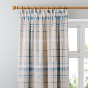 Check Duck Egg Pencil Pleat Curtains