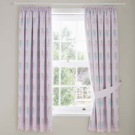 Fairies Pink Blackout Pencil Pleat Curtains