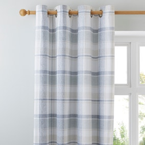 Harrison Blue Thermal Eyelet Curtains