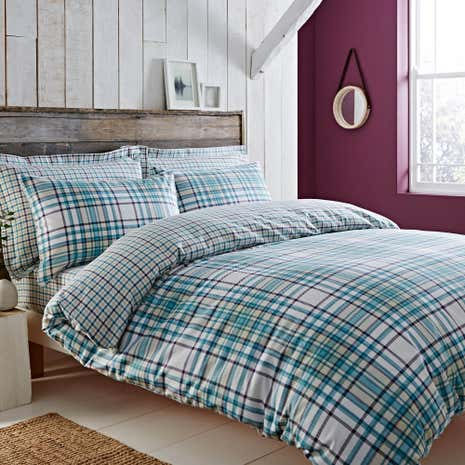 Hartford Teal Brushed Cotton Reversible Duvet Cover And