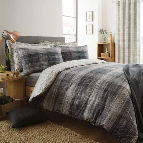 Harvey Charcoal Reversible Duvet Cover and Pillowcase Set