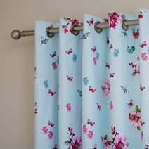 Lanterns Blue Thermal Eyelet Curtains