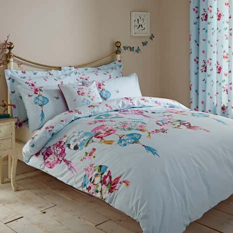 Lanterns Blue Duvet Cover and Pillowcase Set