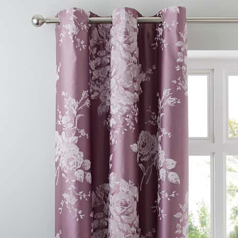 Laura Mauve Jacquard Thermal Eyelet Curtains