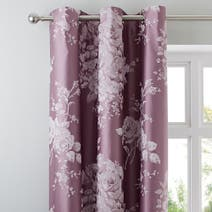 Laura Jacquard Mauve Thermal Eyelet Curtains